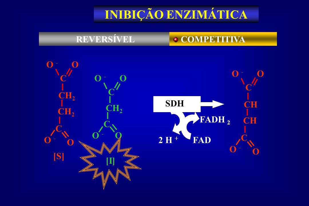 INIBIÇÃO ENZIMÁTICA REVERSÍVEL COMPETITIVA C O O - CH2 [S] C O O - CH